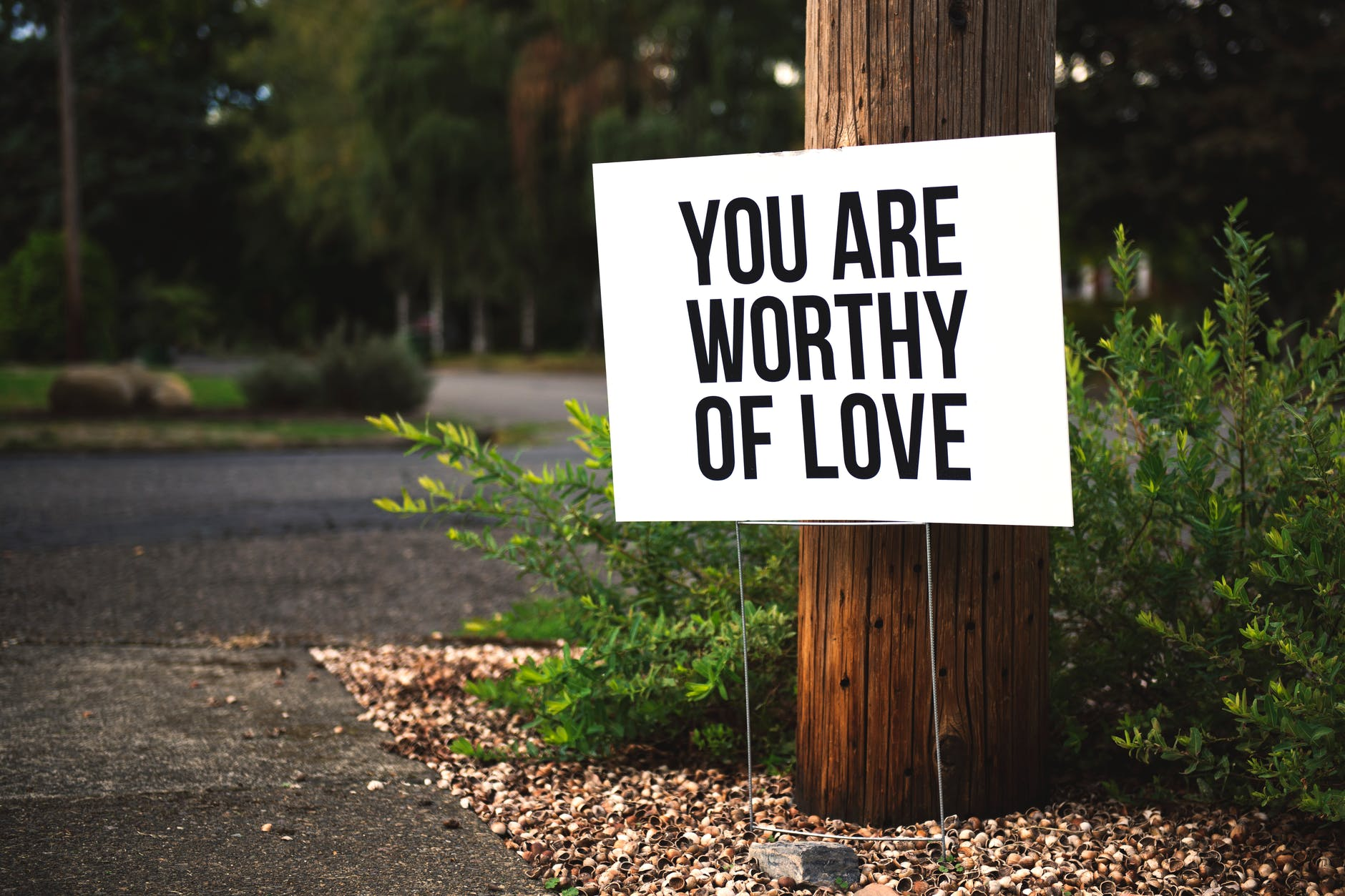 Sign next to telephone pole with You are worthy of love written on it